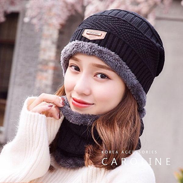 《Caroline》韓版秋冬套頭帽貼布加绒保暖針織毛線帽&圍脖2件套72354