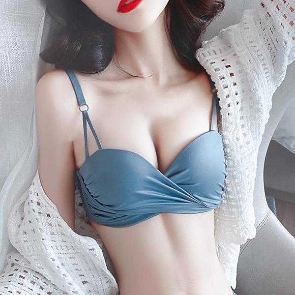 內衣兩件套 無痕內衣內褲一套裝女士小胸聚攏多情貓無鋼圈平胸加厚性感文胸罩-Ballet朵朵