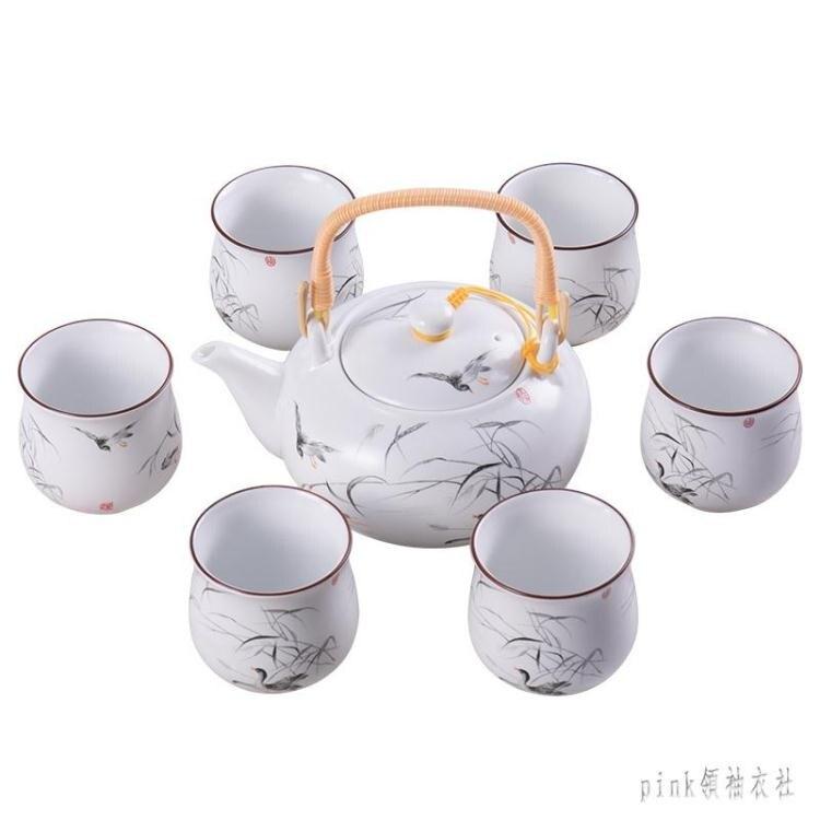 搶先福利 日式喝茶茶具套裝家用簡約茶壺陶瓷功夫茶杯整套白瓷泡茶器 PA1982 夏季狂歡爆款