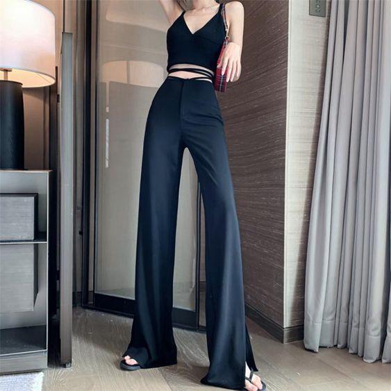 2020春夏季新款高腰褲子垂感繫帶寬鬆闊腿褲微喇叭開叉西裝褲女裝
