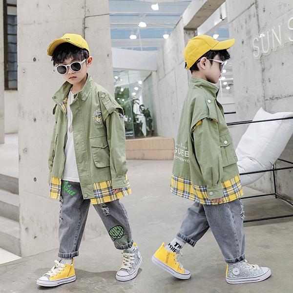 秋季中大童百搭夾克外套 格子假兩件男童外套 男孩簡約男童外套 男童外套風衣 男童外套韓版外套