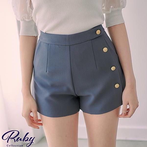 褲子 金屬側排釦素面休閒短褲-Ruby s 露比午茶