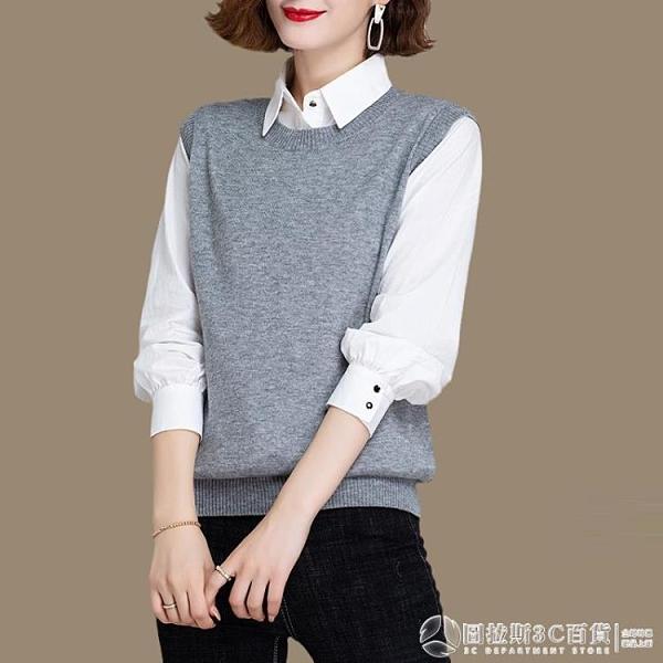 針織背心 新款羊毛線針織馬甲 寬松外穿毛衣 圓領外套 圖拉斯3C百貨