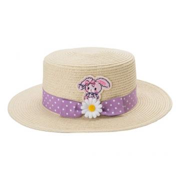 〔小禮堂〕蹦蹦兔 兒童藤編平頂草帽《米.紫緞帶》編織帽