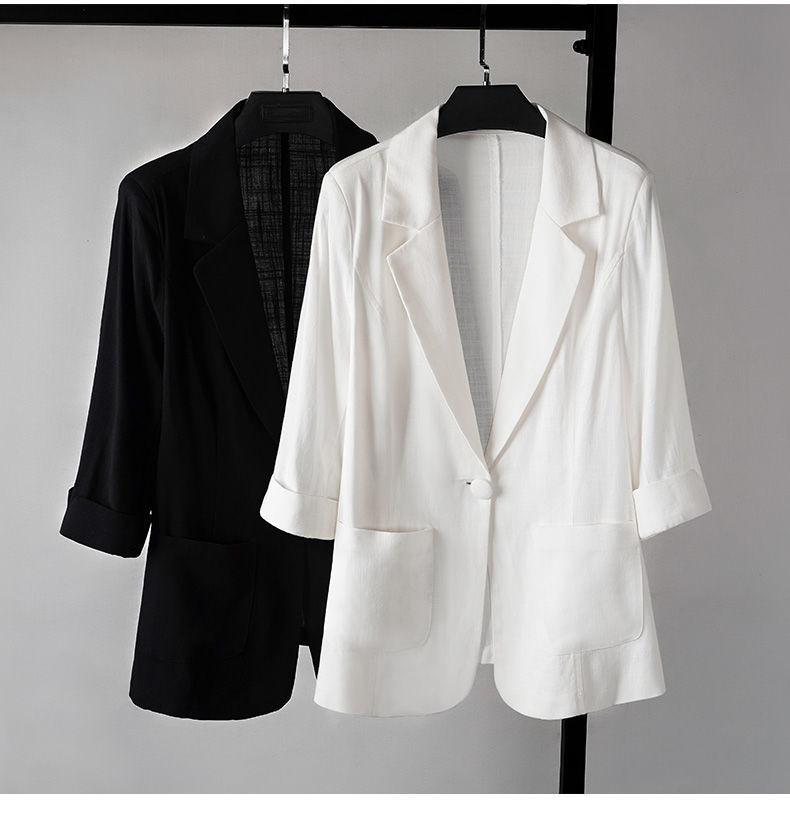 西裝外套 2020新款大碼棉麻西裝外套女 春夏季垂感亞麻薄款小個子西服上衣 快速出貨