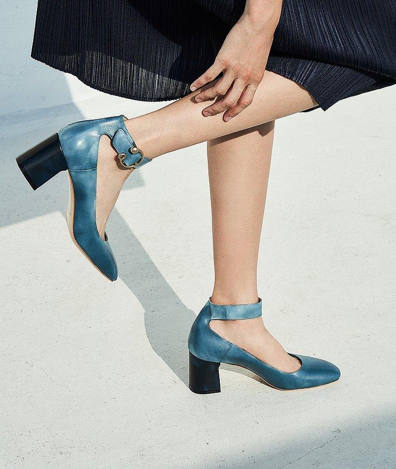 HTHREE6.5踝帶高跟鞋 / 燻藍-Smoke Blue / 6.5 Ankle Belt Pumps