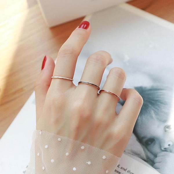 日韓男女網紅玫瑰金時尚黑白滴油極細情侶戒指女尾戒學生指環飾品