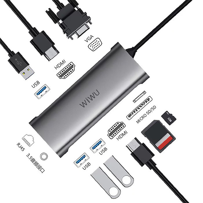 【WiWU】Alpha 升級版 Type-C 11合1擴充轉接器 A11312H