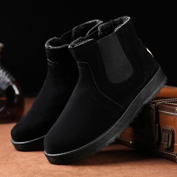 冬季雪地靴男加絨保暖皮毛一體一腳蹬加厚高筒面包鞋韓版潮流棉鞋