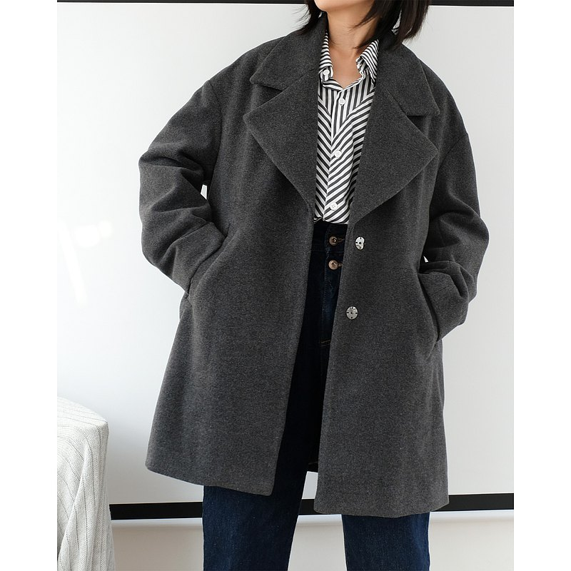 羊毛呢女士外套寬松休閒西裝大翻領中長款深灰秋冬簡約百搭大衣