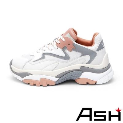 ASH-ADDICT系列潮流休閒運動拼色增高老爹鞋-沙銀