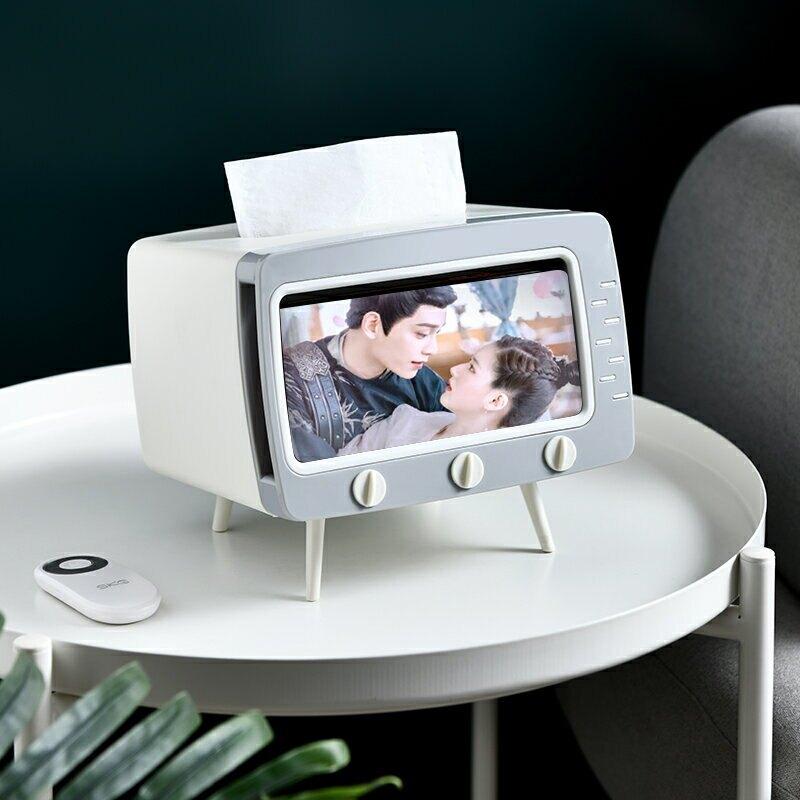 ✤宜家✤網紅電視機紙巾盒 抽紙盒 創意北歐風ins餐巾紙盒