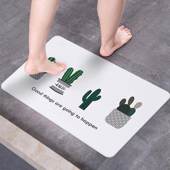 天然硅藻土腳墊吸水速干浴室防滑地墊3d彩繪硅藻泥腳墊衛生間門墊