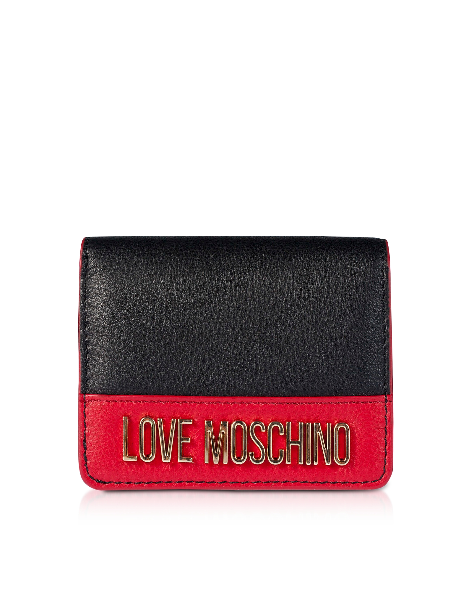 Love Moschino 钱包, Color Block Genuine Leather Small Women's Wallet