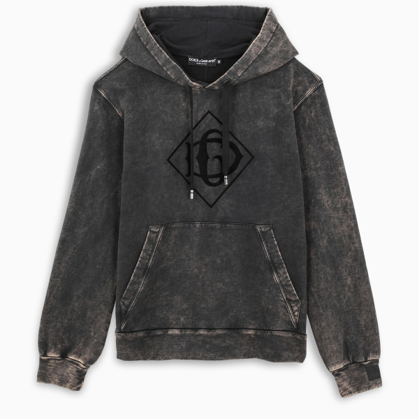 Dolce & Gabbana Faded cotton hoodie with print and patch