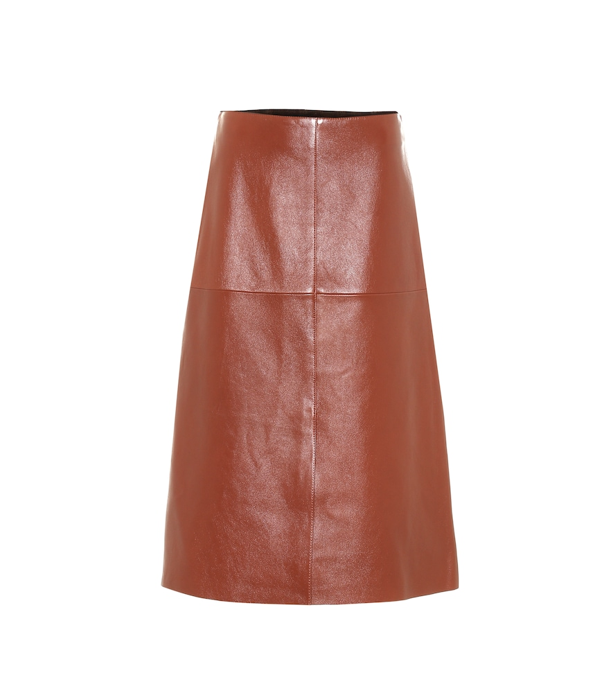 Sidena leather midi skirt