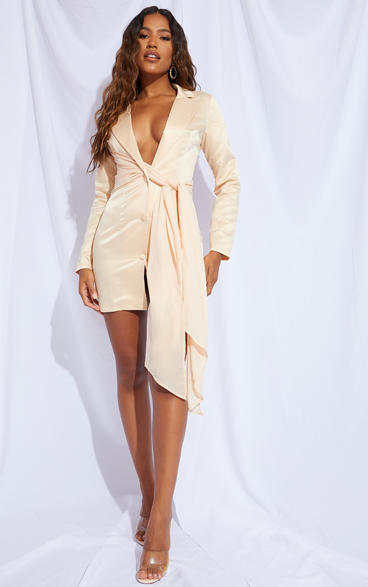 Champagne Satin Chiffon Drape Blazer Dress