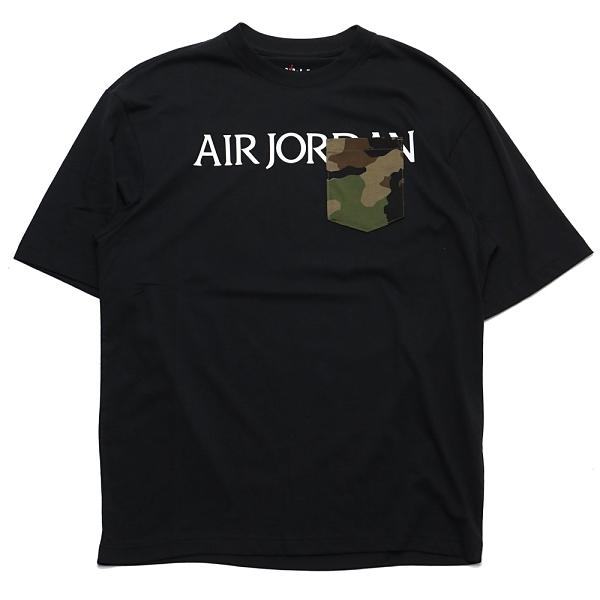 NIKE 短T AIR JORDAN T恤 黑 左胸迷彩口袋 飛人 短袖 男 (布魯克林) CZ0595-010