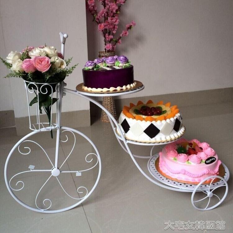 蛋糕架新款歐式創意鐵藝蛋糕架自行車婚慶三層糕點架生日多層甜品展【快速出貨】 創時代 新年春節 送禮