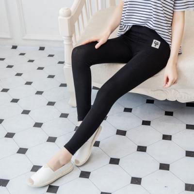 La Belleza素面高腰鬆緊腰喵喵貼布彈性棉質內搭褲