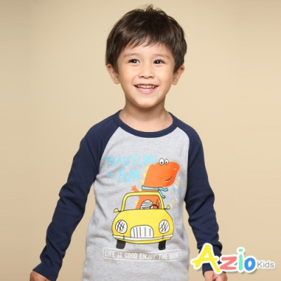 Azio Kids 男童 上衣 恐龍開車字母印花長袖棒球T恤(藍)
