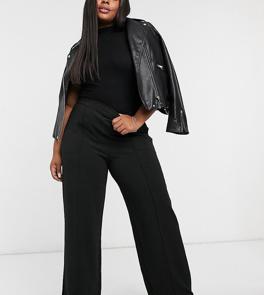 Vero Moda Curve trousers with wide leg in black
