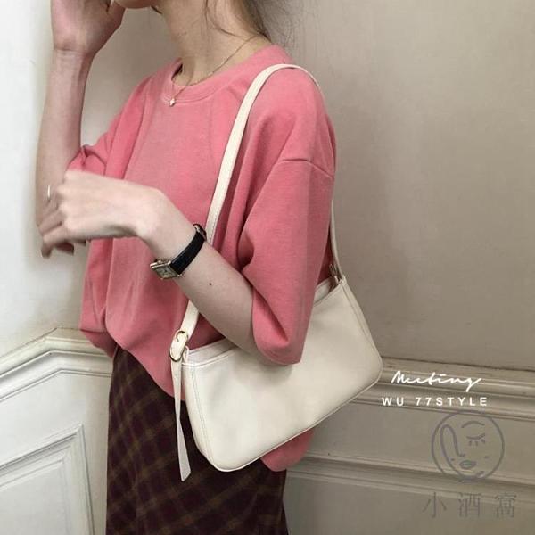 手提包包女韓版復古百搭側背腋下包法棍包側背包【小酒窩服飾】