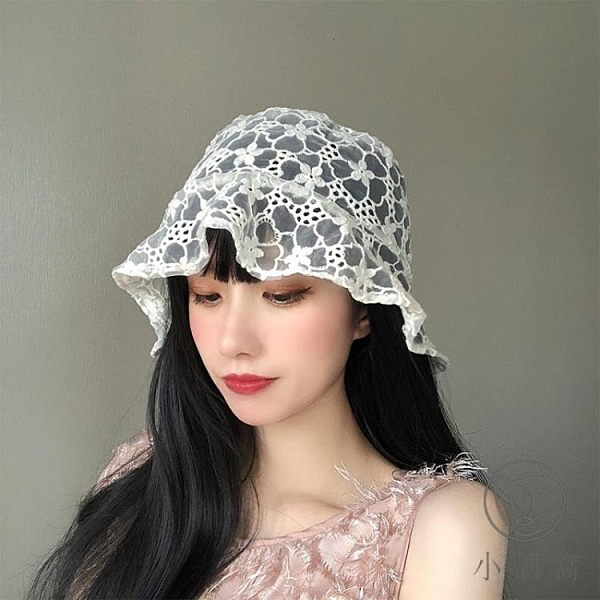鏤空透氣遮陽盆帽蕾絲花朵漁夫帽【小酒窩服飾】