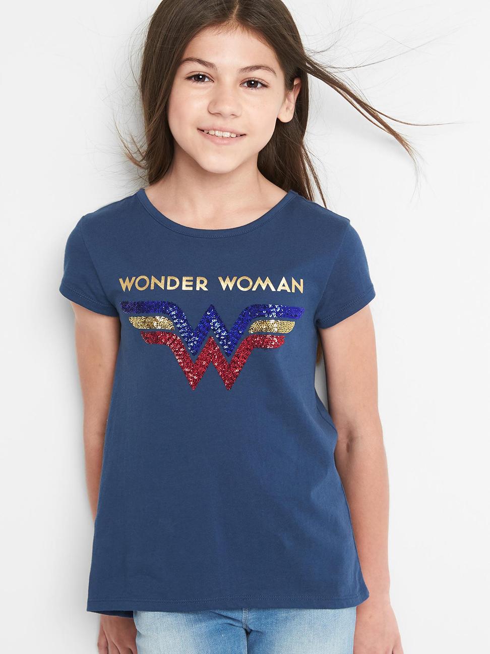 女童 可撥動亮片印花短袖T恤