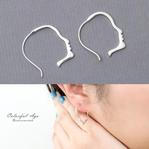 銀飾 人臉輪廓耳勾純銀耳環NPD160