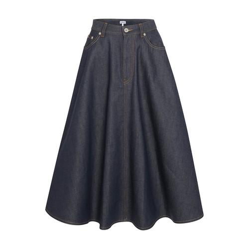 Pleated denim skirt