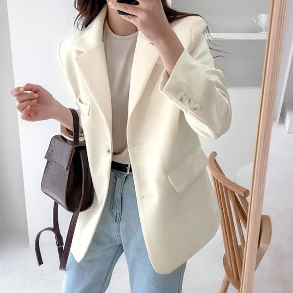 小西服女韓版寬鬆休閒新款網紅上衣炸街白色氣質職業西裝外套 雙十二全館免運