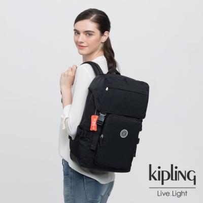 Kipling 個性炭石黑插扣袋蓋電腦後背包-YANTIS