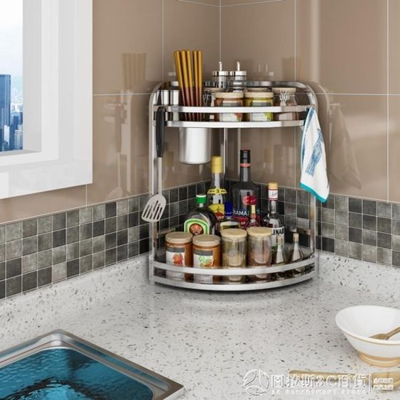 廚具收納架不銹鋼廚房置物架壁掛轉角架調料調味架三角架廚具收納架