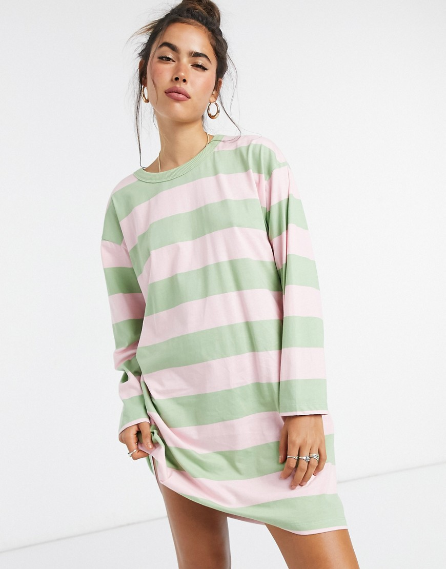 ASOS DESIGN oversized t-shirt dress with long sleeve in pink and sage stripe