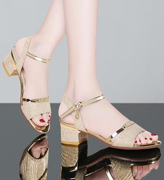 魚口鞋 高跟粗跟中跟魚嘴2021年新款時裝春夏季夏天百搭一字帶涼鞋女鞋子  卡洛琳