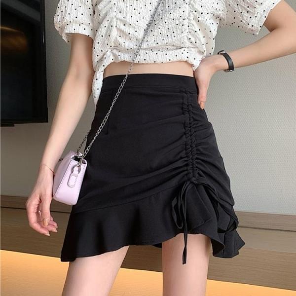 2020新款設計感半身裙女夏季褶皺魚尾裙高腰A字裙黑色包臀短裙子