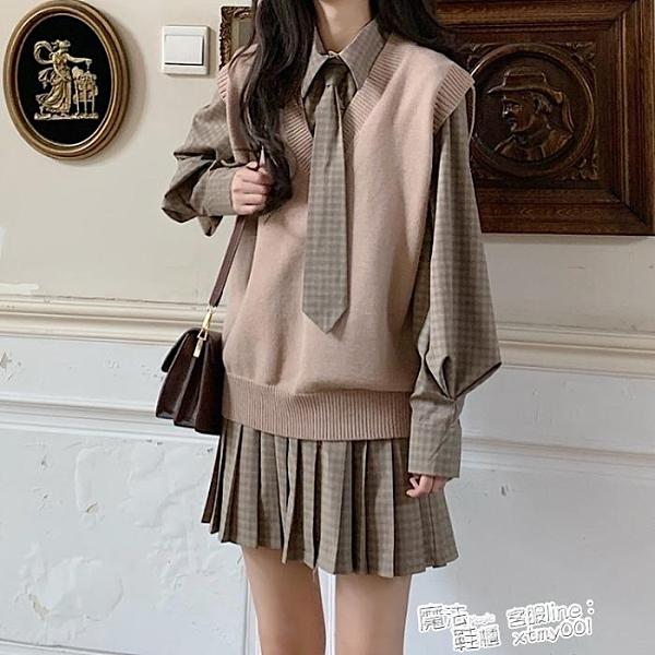 秋季2021新款韓版學院風寬鬆格子拼接長袖襯衫連身裙女網紅百褶裙 喜迎新春