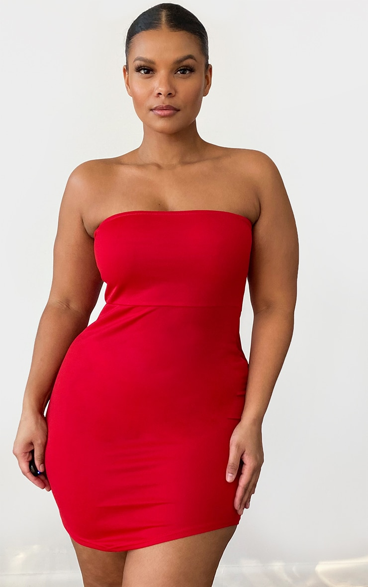 Plus Red Bandeau Pointy Hem Bodycon Dress