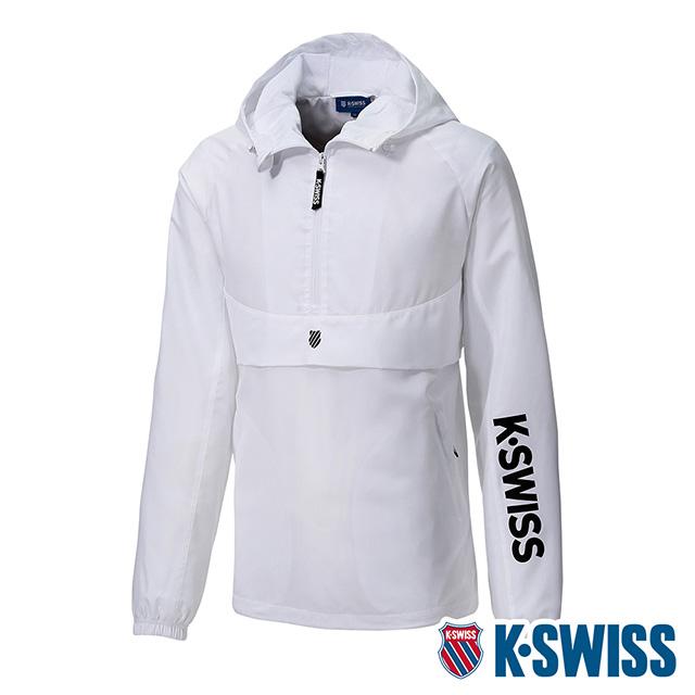 K-SWISS Semi Zip Open Jacket防風上衣-男-白