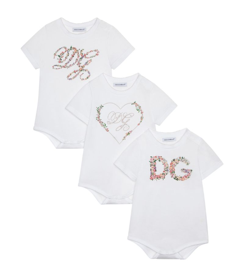 Dolce & Gabbana Kids Set Of 3 Cotton Logo Bodysuits (0-24 Months)