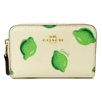 COACH ㄇ型悠遊卡零錢包(米白/檸檬)