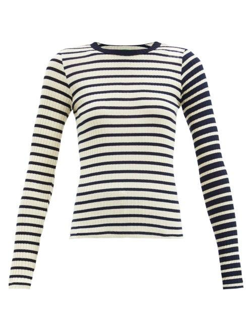 La Fetiche - Striped Cotton-jersey Top - Womens - Navy Multi