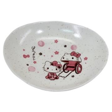Hello Kitty 日製橢圓陶瓷盤《粉白.人力車》點心盤.沙拉盤.金正陶器