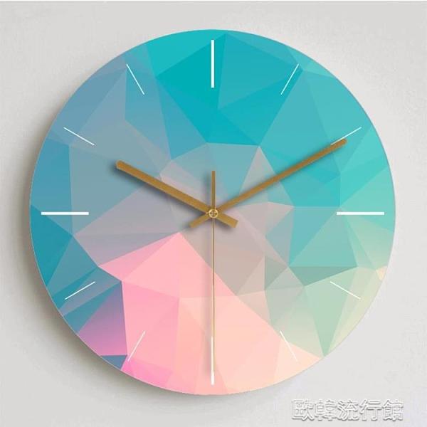 掛鐘 現代簡約夢幻鐘錶客廳掛鐘創意北歐靜音個性臥室裝飾大號石英時鐘 歐韓流行館
