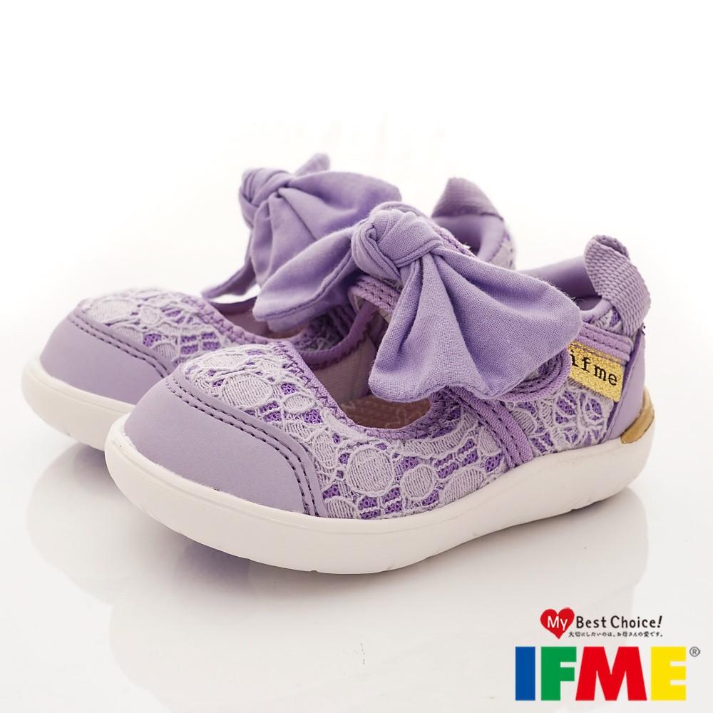 日本IFME健康機能童鞋-蕾絲花漾蝴蝶結款-女生(寶寶學步段)紫081202-櫻桃家正品嚴選