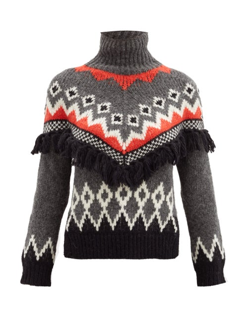Moncler - Roll-neck Tasseled Jacquard Sweater - Womens - Grey Multi
