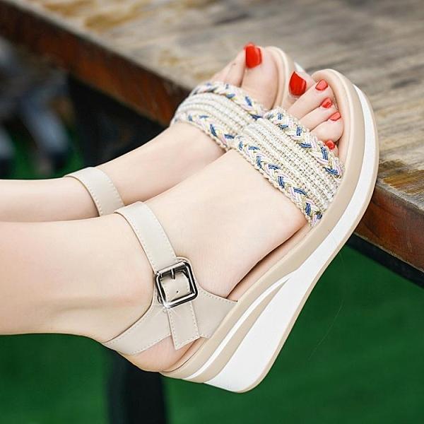 2020夏季新款真皮高跟坡跟厚底涼鞋女時尚防滑一字扣女鞋
