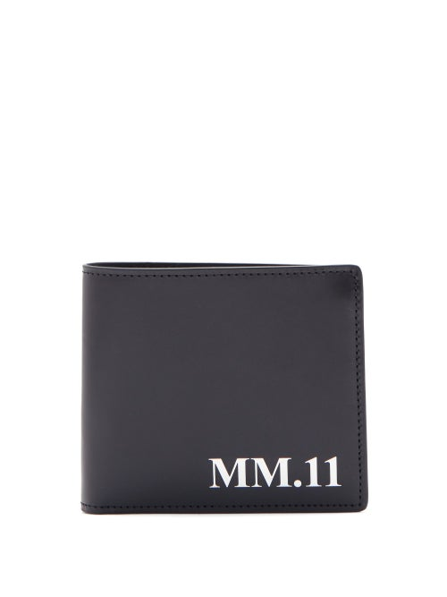 Maison Margiela - Logo-print Leather Bi-fold Wallet - Mens - Black