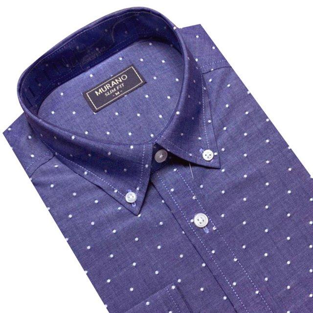 【MURANO】SLIM FIT 長袖襯衫-深藍白點